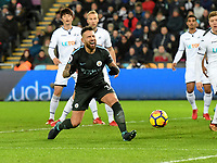 Football - 2017 / 2018 Premier League - Swansea City vs. West Bromwich Albion<br /> <br /> Nicolás Otamendi of Manchester City looks frustrated after failing to connect with a cross , at The Liberty Stadium.<br /> <br /> COLORSPORT/WINSTON BYNORTH