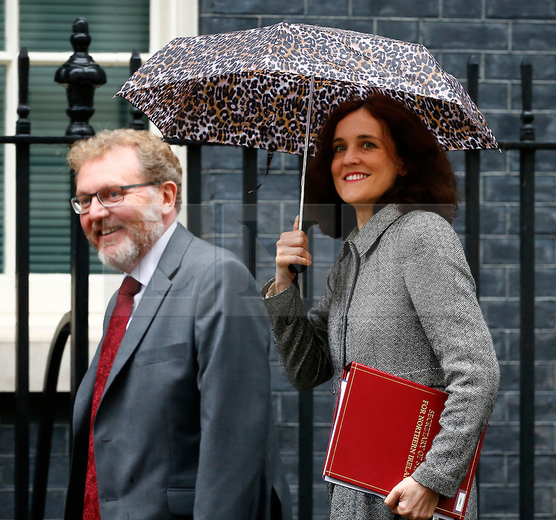 © Licensed to London News Pictures. 10/05/2016. London, UK. Scottish Secretary DAVID MUNDELL (left) and Secretary of State for Northern Ireland THERESA VILLIERS (right) arrive at Number 10 Downing Street in Westminster, London for cabinet meeting. Photo credit: Tolga Akmen/LNP