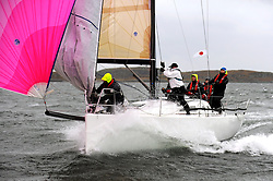 The Clyde Cruising Club's Scottish Series held on Loch Fyne by Tarbert. .Day 4 Racing with a wet Southerly to start clearing up for the last race..GBR8611R, Jacob, John Stomp, PEYC, J111.