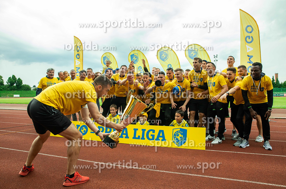 Milan Dzajic with the team during celebration of NK Bravo, winning team in 2nd Slovenian Football League in season 2018/19 after they qualified to Prva Liga, on May 26th, 2019, in Stadium ZAK, Ljubljana, Slovenia. Photo by Vid Ponikvar / Sportida