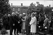 The new U.S. Embassy in Ballsbridge was officially opened by Congressman Wayne L. Hays of Ohio.  Picture shows President Eamon de Valera being escorted to the platform by the American Ambassador, Mr. Matthew McCloskey. Included are Mr. Seán McEntee, Minister for Health; Mrs. Enda McLeod, widow of former U.S. Ambassador Scott McLeod, An Taoiseach Mr. Seán Lemass, and Mrs. McCloskey..23.05.1964