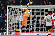 Derby County goalkeeper Scott Carson (1) at full stretch gets a glove to the ball but Cardiff score to make it 2-1 during the EFL Sky Bet Championship match between Derby County and Cardiff City at the Pride Park, Derby, England on 14 February 2017. Photo by Jon Hobley.
