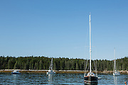McGlathery Island, ME - 12 August 2014. Boats at anchor.