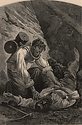 Rescuing a miner after a pit disaster. The rescuer is using Royquayrol's breathing apparatus. From  'Underground Life; or, Mines and Miners' by Louis Simonin (London, 1869). Wood engraving.