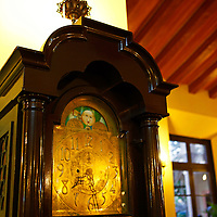 Central America, Cuba, Havana. Grandfather Clock in Lobby at Hotel Nacional de Cuba, an iconic landmark in Havana.