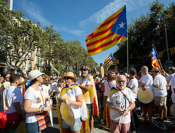 Tens of thousands of Catalans separatists march in protest in the centre of Barcelona during 'La Diada', the annual festival to mark National Day of Catalonia, demanding the independence of Catalonia.