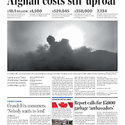 Front Page of The Toronto Star for story on war in Kandahar, Afghanistan.