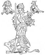 Warwick the Kingmaker: Richard Neville, Earl of Warwick (1428-1471). English soldier and statesman. Killed at the Battle of Barnet during Wars of the Roses. Warwick in armour holding shield and sword. After Rous's Roll of the Earls of Warwick.