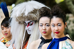 "© Licensed to London News Pictures. 29/09/2019. London, UK. Performers wearing Japanese outfits during the annual Japan Matsuri festival of Japanese music, food and culture in Trafalgar Square. The concept of the theme this year is ""Future generations"".<br /> <br /> Photo credit: Dinendra Haria/LNP"