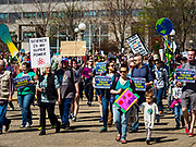 22 APRIL 2017 - ST. PAUL, MN: Marchers arrive at the March for Science near the Minnesota State Capitol. More than 10,000 people marched from the St. Paul Cathedral to the Minnesota State Capitol in St. Paul during the March for Science. March organizers said the march was non-partisan and was to show support for the sciences, including the sciences behind climate change and vaccines.      PHOTO BY JACK KURTZ