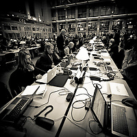 Brussels, Belgium 16 December 2010<br /> View of the press center at the European Union leaders summit in Brussels.<br /> Photo: Ezequiel Scagnetti