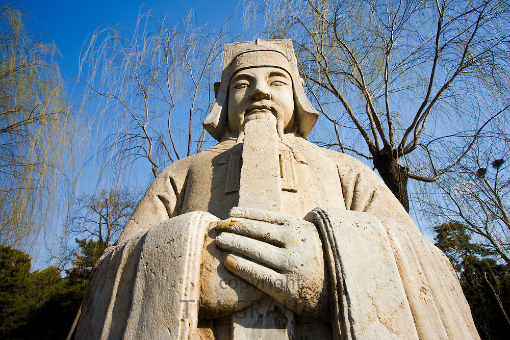 Statue of high civil official, advisor to the emperor, on Spirit Way at Ming Tombs site, Changling, Beijing, China