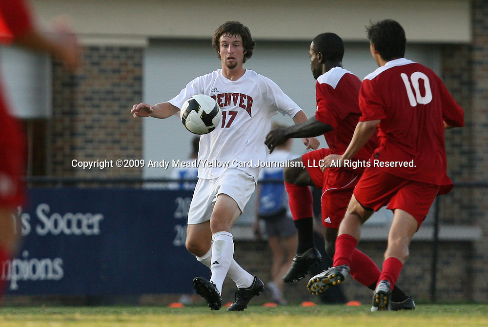 04 September 2009: Denver's Kyle Varvil (17). The North Carolina State University Wolfpack defeated the University of Denver Pioneers 4-0 at Koskinen Stadium in Durham, North Carolina in an NCAA Division I Men's college soccer game.