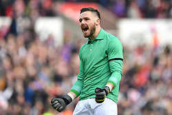 February 23, 2019 - Stoke On Trent, England, United Kingdom - Jack Butland (1) of Stoke City celebrates after his side score a goal to make it 1-0 during the Sky Bet Championship match between Stoke City and Aston Villa at the Britannia Stadium, Stoke-on-Trent on Saturday 23rd February 2019. (Credit Image: © Mi News/NurPhoto via ZUMA Press)