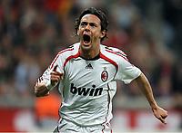 Filippo Inzaghi, Jubel nach dem 0:2 Tor<br /> Champions League Viertelfinale FC Bayern München - AC Milan<br /> Norway only