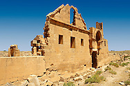 """Pictures of the the ruins of the 8th century University of  Harran, south west Anatolia, Turkey.  Harran was a major ancient city in Upper Mesopotamia whose site is near the modern village of Altınbaşak, Turkey, 24 miles (44 kilometers) southeast of Şanlıurfa. The location is in a district of Şanlıurfa Province that is also named """"Harran"""". Harran is famous for its traditional 'beehive' adobe houses, constructed entirely without wood. The design of these makes them cool inside. 47 .<br /> <br /> If you prefer to buy from our ALAMY PHOTO LIBRARY  Collection visit : https://www.alamy.com/portfolio/paul-williams-funkystock/harran.html<br /> <br /> Visit our TURKEY PHOTO COLLECTIONS for more photos to download or buy as wall art prints https://funkystock.photoshelter.com/gallery-collection/3f-Pictures-of-Turkey-Turkey-Photos-Images-Fotos/C0000U.hJWkZxAbg ."""