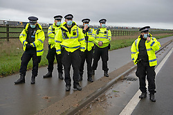 © Licensed to London News Pictures 23/12/2020.        Manston, UK. Hundreds of angry truckers have blockaded the A299 at Manston Airport, Kent this morning in a mass protest. France have closed its borders to all freight traffic because of the new Coronavirus strain. Photo credit:Grant Falvey/LNP