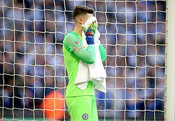 Chelsea goalkeeper Kepa Arrizabalaga during the Carabao Cup Final at Wembley Stadium, London.
