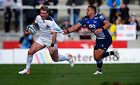 Rugby Union - 2021 / 2022 Gallagher Premiership - Round Three - Sale Sharks vs Exeter Chiefs - A J Bell Stadium - Sunday 3rd October 2021<br /> <br /> van Rensburg of Sale Sharks and Sturat Hogg of Exeter Chiefs<br /> <br /> Credit COLORSPORT/Lynne Cameron