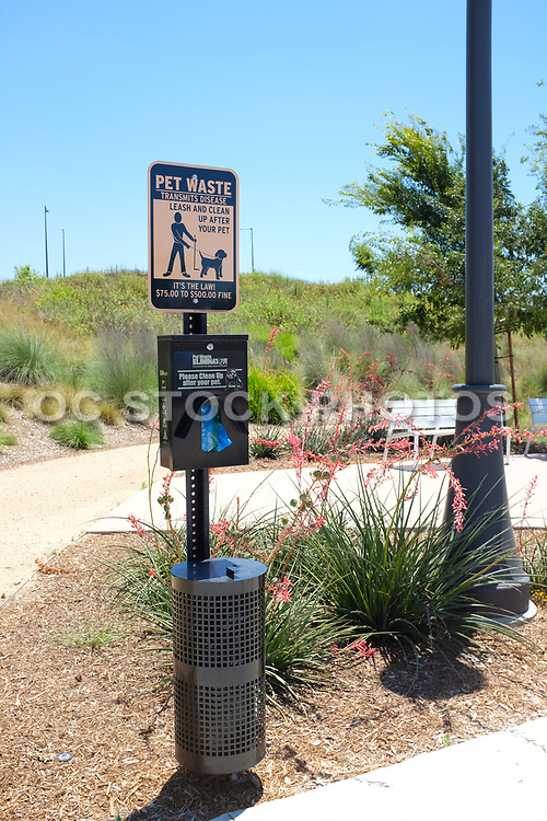 Pet Waste Station Located in the Bosque Open Space Area of the Great Park