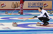 """Glasgow. SCOTLAND. Scotland's """"Skip"""" Tom BREWSTER, signal with the brush, where he wants the """"Stone"""" Placed, during the, Le Gruyère European Curling Championships. 2016 Venue, Braehead  Scotland<br /> Sunday  20/11/2016<br /> <br /> [Mandatory Credit; Peter Spurrier/Intersport-images]"""