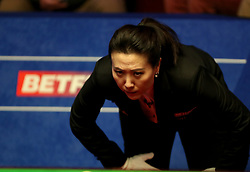 Snooker referee Zhu Ying during day one of the 2018 Betfred World Championship at The Crucible, Sheffield. PRESS ASSOCIATION Photo. Picture date: Saturday April 21, 2018. See PA story SNOOKER World. Photo credit should read: Richard Sellers/PA Wire.