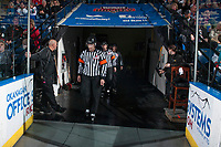 KELOWNA, CANADA - APRIL 14: Referees Adam Byblow and Reagan Vetter enter the ice at the Kelowna Rockets against the Portland Winterhawks on April 14, 2017 at Prospera Place in Kelowna, British Columbia, Canada.  (Photo by Marissa Baecker/Shoot the Breeze)  *** Local Caption ***