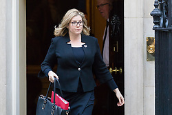 © Licensed to London News Pictures. 09/10/2018. London, UK.  Penny Mordaunt,<br /> Secretary of State for International Development leaving Downing Street after a cabinet meeting.  Photo credit: Vickie Flores/LNP