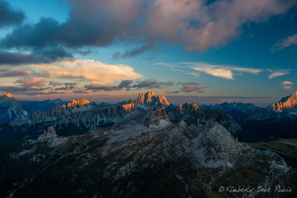 Sunset panorama across the Dolomite Mountains (Italian Alps) from Rifugio Lagazuoi (9,029') near Cortina d'Ampezzo, Italy.