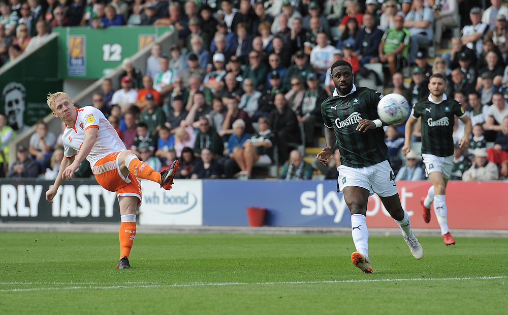 Blackpool's Mark Cullen shoots<br /> <br /> Photographer Kevin Barnes/CameraSport<br /> <br /> The EFL Sky Bet League One - Plymouth Argyle v Blackpool - Saturday 15th September 2018 - Home Park - Plymouth<br /> <br /> World Copyright © 2018 CameraSport. All rights reserved. 43 Linden Ave. Countesthorpe. Leicester. England. LE8 5PG - Tel: +44 (0) 116 277 4147 - admin@camerasport.com - www.camerasport.com