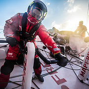 Leg 7 from Auckland to Itajai, day 09 on board MAPFRE, Blair Tuke trimming on with Pablo after a massive broach, Xabi steering, 26 March, 2018.