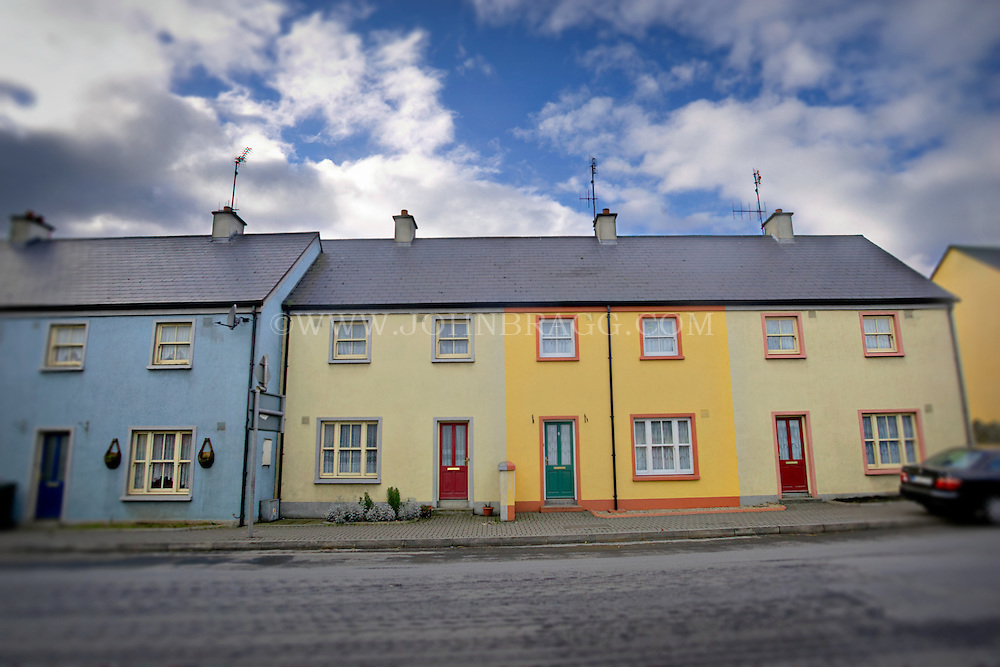 Bright, colorful rowhouses in Castledermot, County Kildare, Ireland