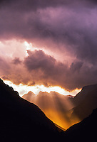 A storm passing over the Alps (looking south from Maloja Pass), Switzerland