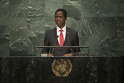 UNITED NATIONS, Sept. 21, 2016 (Xinhua) -- Zambia's President Edgar Lungu addresses the United Nations General Assembly at the UN headquarters in New York, the United States, Sept. 20, 2016. The 71st session of the UN General Assembly on Tuesday kicked off its annual high-level General Debate at the UN headquarters in New York, with a focus on pushing for the world's sustainable development. (Xinhua/UN Photo/JC McIlwaine) (Credit Image: © Un /Jc Mcilwaine/Xinhua via ZUMA Wire)