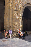 Cellist busker on the Placa de Catedral, Jaca, Huesca, Aragon, Spain