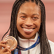 TOKYO, JAPAN August 6:   Allyson Felix of the United States on the podium with her bronze medal won in the 400m for women making her the most decorated female olympic runner during the Track and Field competition at the Olympic Stadium  at the Tokyo 2020 Summer Olympic Games on August 6th, 2021 in Tokyo, Japan. (Photo by Tim Clayton/Corbis via Getty Images)