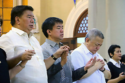 October 1, 2016 - Philippines - Senator Drillon (left), Senator  Pimentel (center) and Jun Santiago (right) prayed during the wake mass for Sen. Miriam Defensor Santiago at Immaculate Conception Cathedral in Quezon City. Sen. Santiago pass-away last September 29, 2016 due to her stage 4 lung cancer and she is one of the candidates for presidential election 2016. (Credit Image: © Gregorio B.Dantes Jr/Pacific Press via ZUMA Wire)