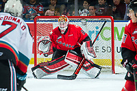 KELOWNA, BC - DECEMBER 30:  Taylor Gauthier #35 of the Prince George Cougars makes a second period save on a shot by Conner McDonald #7 of the Kelowna Rockets at Prospera Place on December 30, 2019 in Kelowna, Canada. (Photo by Marissa Baecker/Shoot the Breeze)