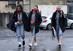 Sophie Baggaley of Bristol City Women, Carla Humphrey of Bristol City Women and Jemma Purfield of Bristol City Women arrives at Twerton Park prior to kick off - Mandatory by-line: Ryan Hiscott/JMP - 13/12/2020 - FOOTBALL - Twerton Park - Bath, England - Bristol City Women v West Ham United Women - Barclays FA Women's Super League