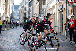 Tiffany Cromwell (AUS) and Katarzyna Niewiadoma (POL) of CANYON//SRAM Racing ride to the sign-on before the Amstel Gold Race - Ladies Edition - a 126.8 km road race, between Maastricht and Valkenburg on April 21, 2019, in Limburg, Netherlands. (Photo by Balint Hamvas/Velofocus.com)