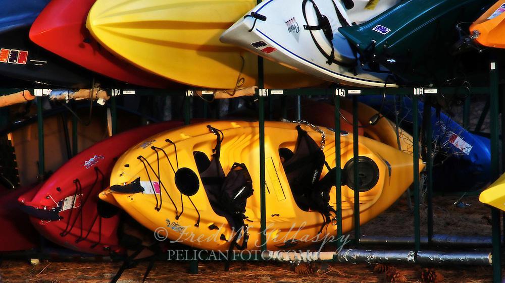 Kayaks at Lake Tahoe Sunset