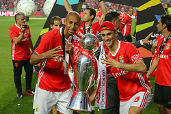 May 13, 2017 - Lisbon, Lisbon, Portugal - Benfica's defender Luisao from Brasil (L) and Benfica's forward Jonas from Brasil (R) celebrating the tetra title with his team mates after the match between SL Benfica and Vitoria SC for the Portuguese Primeira Liga at Estadio da Luz on May 13, 2017 in Lisbon, Portugal. (Credit Image: © Dpi/NurPhoto via ZUMA Press)