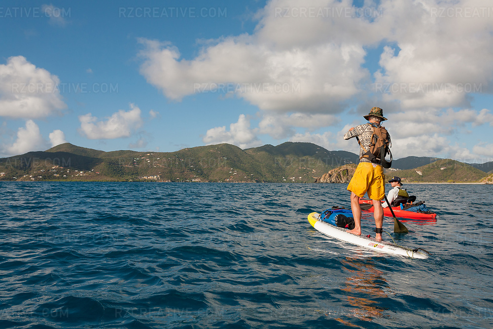 Ted Rutherford and Mark Anders paddling in Coral Bay, St. John, USVI. Photo © Robert Zaleski / rzcreative.com<br /> —<br /> To license this image for editorial or commercial use, please contact Robert@rzcreative.com