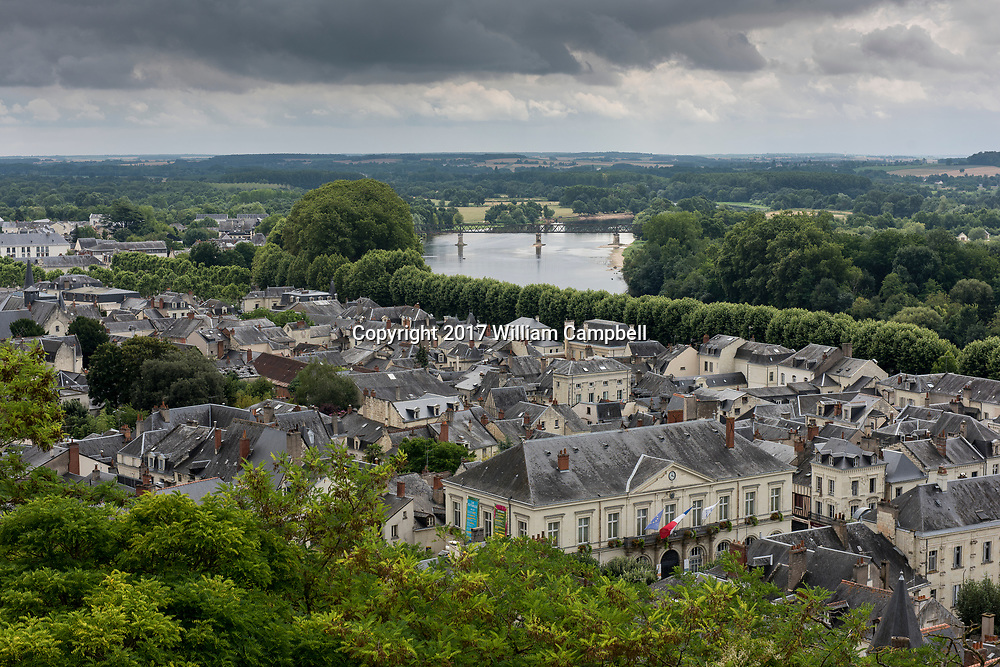 The Vienne River running through the city of  Chinon, France in the Loire Valley.