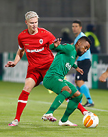 RAZGRAD, BULGARIA - OCTOBER 22: Simen Juklerod of Antwerp competes against the opposite player during the UEFA Europa League Group J stage match between PFC Ludogorets Razgrad and Royal Antwerp at Ludogorets Arena on October 22, 2020 in Razgrad, Bulgaria. (Photo by Nikola Krstic/MB Media)