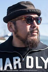 Hammer Sycles' Koji Hamada at Brat Style's flat track racing at West Point Offroad Village. Kawagoe, Saitama. Japan. Wednesday December 6, 2017. Photography ©2017 Michael Lichter.