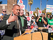 09 FEBRUARY 2012 - PHOENIX, AZ:   Arizona State Senator STEVE GALLARDO (D) speaks out against Republican bills that are anti-union at a press conference Thursday. About 150 people, mostly union members but also some unemployed and members of the Occupy movement, were at the State Capitol in Phoenix, AZ, Thursday to announce their opposition to Arizona Senate Bills 1484, 1485, 1486 and 1487 all of which would restrict the way public employee unions operate in Arizona.  PHOTO BY JACK KURTZ