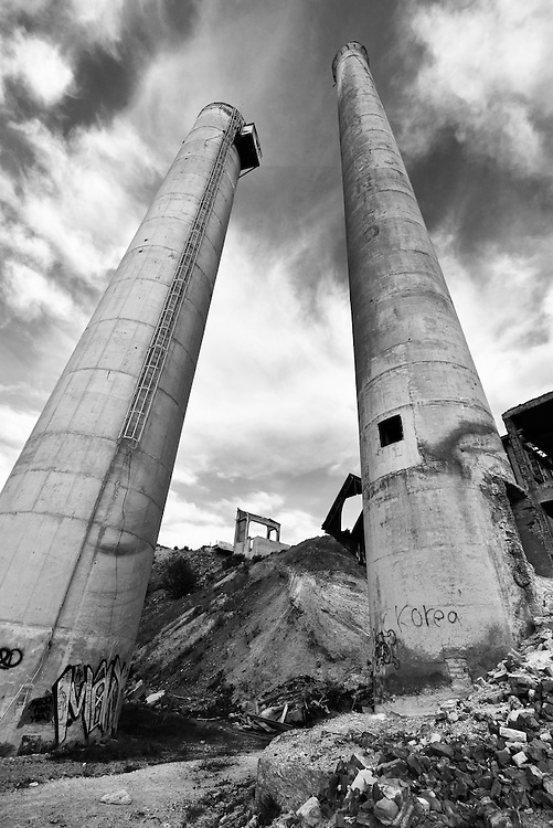 Ruins of a cement plant in Lime, Oregon.