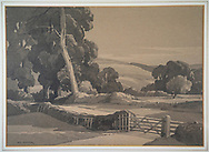 A watercolour painting in momotone of an English country scene with trees and rolling countryside and a lane.