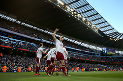 6 January 2018 - FA Cup (3rd Round) Football - Manchester City v Burnley - Sam Vokes of Burnley celebrates their first and only goal - Photo: Charlotte Wilson / Offside